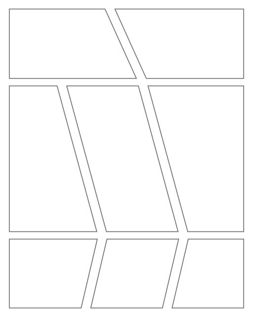 Comic strip template printables in PDF format for manga, newspaper or other styles. Panel 3 panel, 4 panel, 5 panel and more layouts in various styles, including with speech bubbles. Geometric Panels 8 Panels