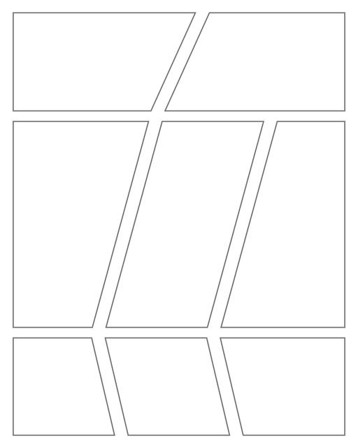 Comic strip template printables in PDF format for manga, newspaper or other styles. Panel 3 panel, 4 panel, 5 panel and more layouts in various styles, including with speech bubbles. Geometric Panels 8 Panels V2