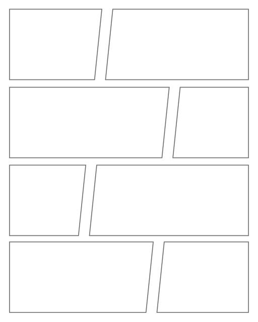 Comic strip template printables in PDF format for manga, newspaper or other styles. Panel 3 panel, 4 panel, 5 panel and more layouts in various styles, including with speech bubbles. Geometric Panels 8 Panels V3