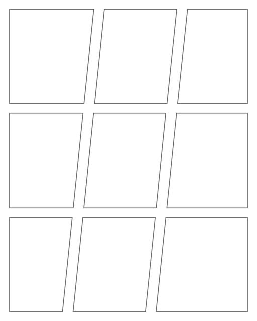 Comic strip template printables in PDF format for manga, newspaper or other styles. Panel 3 panel, 4 panel, 5 panel and more layouts in various styles, including with speech bubbles. Geometric Panels 9 Panels