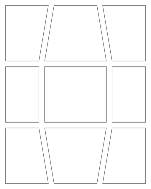 Comic strip template printables in PDF format for manga, newspaper or other styles. Panel 3 panel, 4 panel, 5 panel and more layouts in various styles, including with speech bubbles. Geometric Panels 9 Panels V2