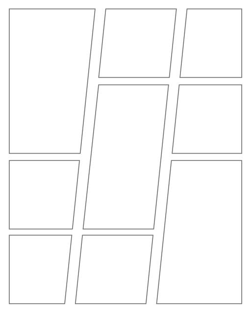 Comic strip template printables in PDF format for manga, newspaper or other styles. Panel 3 panel, 4 panel, 5 panel and more layouts in various styles, including with speech bubbles. Geometric Panels 9 Panels V3