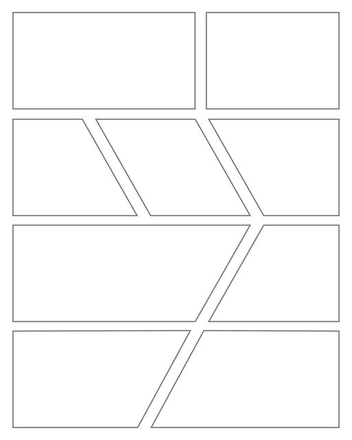 Comic strip template printables in PDF format for manga, newspaper or other styles. Panel 3 panel, 4 panel, 5 panel and more layouts in various styles, including with speech bubbles. Geometric Panels 9 Panels V4