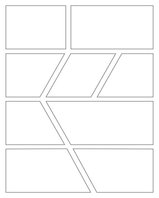 Comic strip template printables in PDF format for manga, newspaper or other styles. Panel 3 panel, 4 panel, 5 panel and more layouts in various styles, including with speech bubbles. Geometric Panels 9 Panels V5