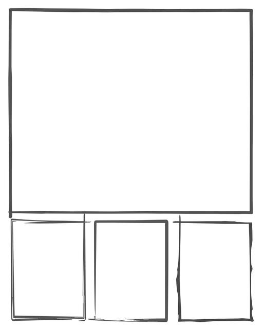 Comic strip template printables in PDF format for manga, newspaper or other styles. Panel 3 panel, 4 panel, 5 panel and more layouts in various styles, including with speech bubbles. Hand Drawn 4 Panel