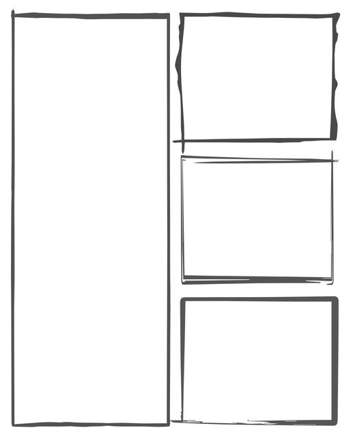 Comic strip template printables in PDF format for manga, newspaper or other styles. Panel 3 panel, 4 panel, 5 panel and more layouts in various styles, including with speech bubbles. Hand Drawn 4 Panel V2