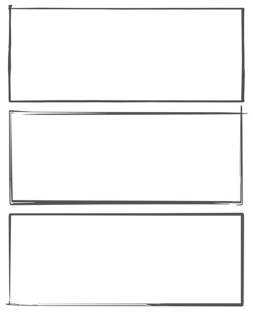 Comic strip template printables in PDF format for manga, newspaper or other styles. Panel 3 panel, 4 panel, 5 panel and more layouts in various styles, including with speech bubbles. Hand Drawn 5 Panel