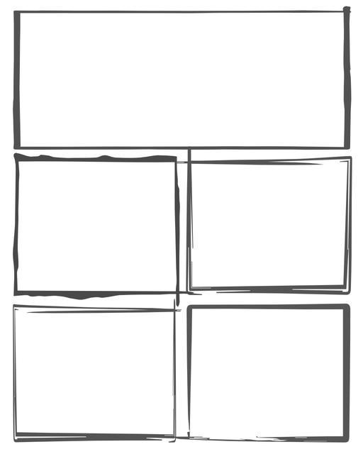 Comic strip template printables in PDF format for manga, newspaper or other styles. Panel 3 panel, 4 panel, 5 panel and more layouts in various styles, including with speech bubbles. Hand Drawn 5 Panel V2
