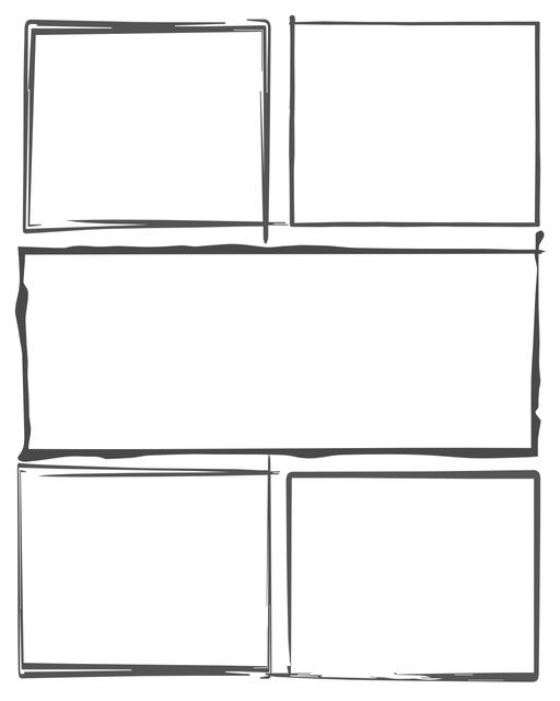 Comic strip template printables in PDF format for manga, newspaper or other styles. Panel 3 panel, 4 panel, 5 panel and more layouts in various styles, including with speech bubbles. Hand Drawn 5 Panel V4