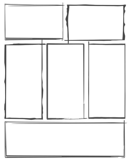 Comic strip template printables in PDF format for manga, newspaper or other styles. Panel 3 panel, 4 panel, 5 panel and more layouts in various styles, including with speech bubbles. Hand Drawn 6 Panel