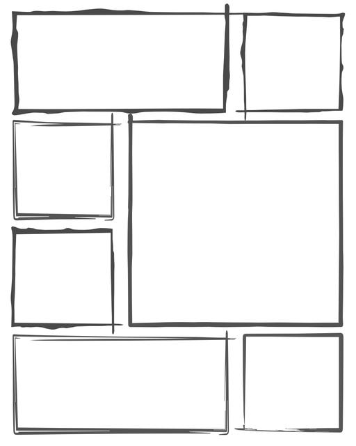 Comic strip template printables in PDF format for manga, newspaper or other styles. Panel 3 panel, 4 panel, 5 panel and more layouts in various styles, including with speech bubbles. Hand Drawn 7 Panel
