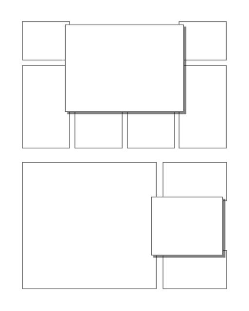 Comic strip template printables in PDF format for manga, newspaper or other styles. Panel 3 panel, 4 panel, 5 panel and more layouts in various styles, including with speech bubbles. Manga Panels 3d Effects 11