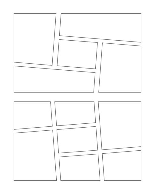 Comic strip template printables in PDF format for manga, newspaper or other styles. Panel 3 panel, 4 panel, 5 panel and more layouts in various styles, including with speech bubbles. Manga Panels Geometric 1