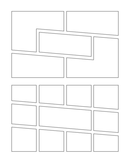 Comic strip template printables in PDF format for manga, newspaper or other styles. Panel 3 panel, 4 panel, 5 panel and more layouts in various styles, including with speech bubbles. Manga Panels Geometric 10