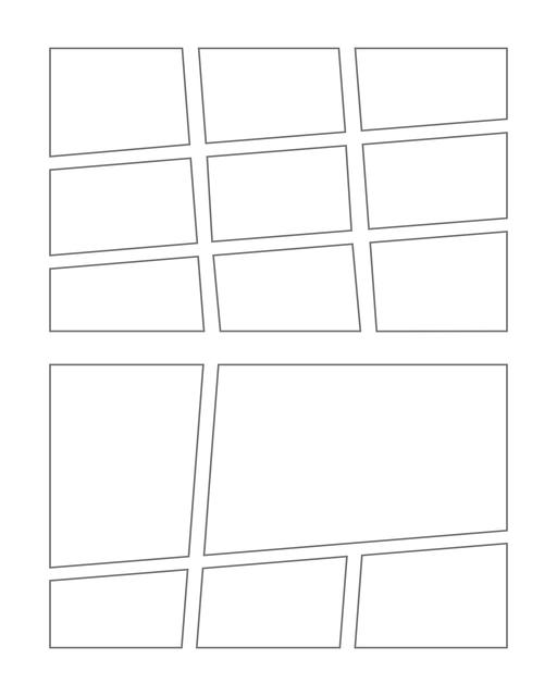 Comic strip template printables in PDF format for manga, newspaper or other styles. Panel 3 panel, 4 panel, 5 panel and more layouts in various styles, including with speech bubbles. Manga Panels Geometric 3