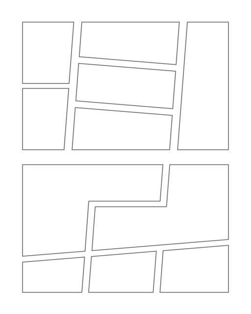 Comic strip template printables in PDF format for manga, newspaper or other styles. Panel 3 panel, 4 panel, 5 panel and more layouts in various styles, including with speech bubbles. Manga Panels Geometric 4