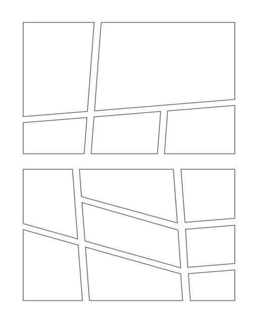 Comic strip template printables in PDF format for manga, newspaper or other styles. Panel 3 panel, 4 panel, 5 panel and more layouts in various styles, including with speech bubbles. Manga Panels Geometric 5