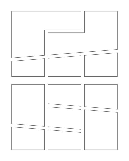 Comic strip template printables in PDF format for manga, newspaper or other styles. Panel 3 panel, 4 panel, 5 panel and more layouts in various styles, including with speech bubbles. Manga Panels Geometric 6
