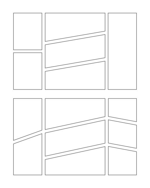 Comic strip template printables in PDF format for manga, newspaper or other styles. Panel 3 panel, 4 panel, 5 panel and more layouts in various styles, including with speech bubbles. Manga Panels Geometric 7