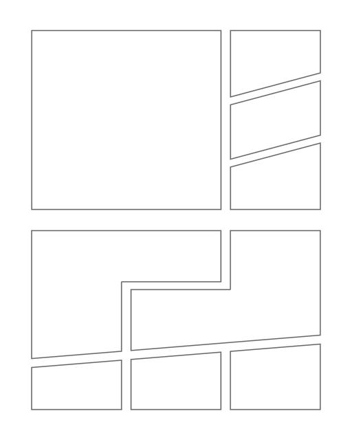 Comic strip template printables in PDF format for manga, newspaper or other styles. Panel 3 panel, 4 panel, 5 panel and more layouts in various styles, including with speech bubbles. Manga Panels Geometric 8