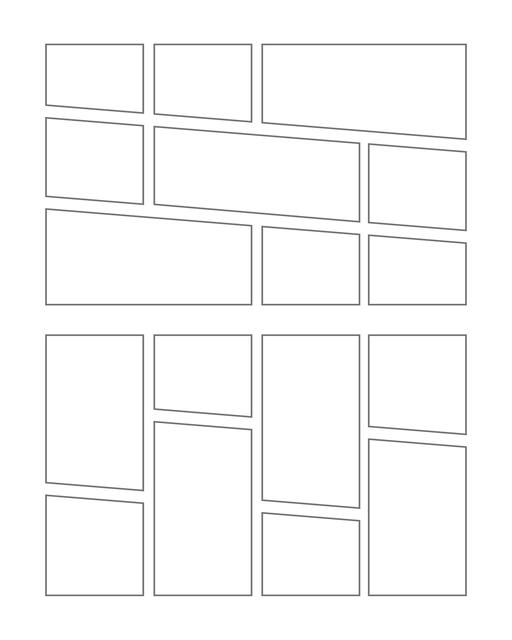 Comic strip template printables in PDF format for manga, newspaper or other styles. Panel 3 panel, 4 panel, 5 panel and more layouts in various styles, including with speech bubbles. Manga Panels Geometric 9