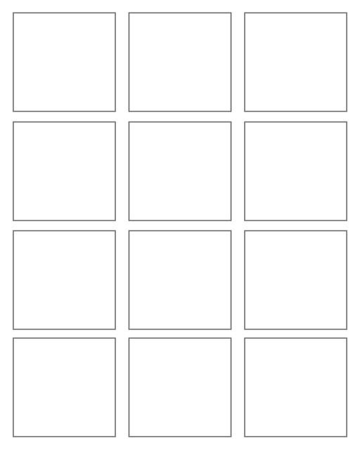 Comic strip template printables in PDF format for manga, newspaper or other styles. Panel 3 panel, 4 panel, 5 panel and more layouts in various styles, including with speech bubbles. Rectangle Panels 12 Panel