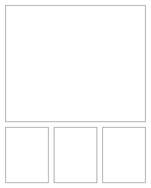 Comic strip template printables in PDF format for manga, newspaper or other styles. Panel 3 panel, 4 panel, 5 panel and more layouts in various styles, including with speech bubbles. Rectangle Panels 4 Panel