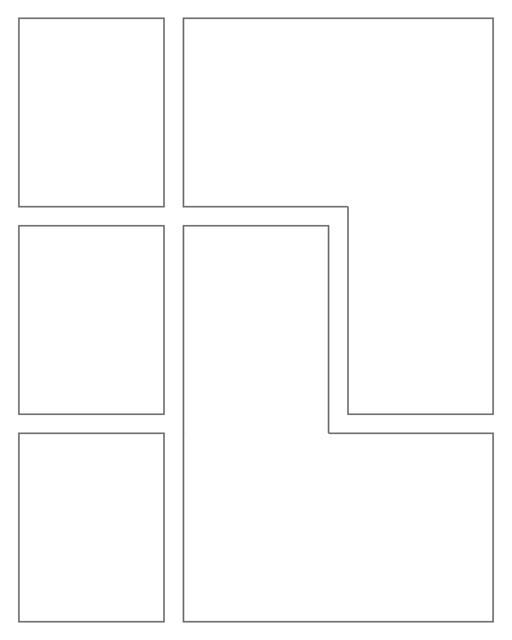 Comic strip template printables in PDF format for manga, newspaper or other styles. Panel 3 panel, 4 panel, 5 panel and more layouts in various styles, including with speech bubbles. Rectangle Panels 5 Panel