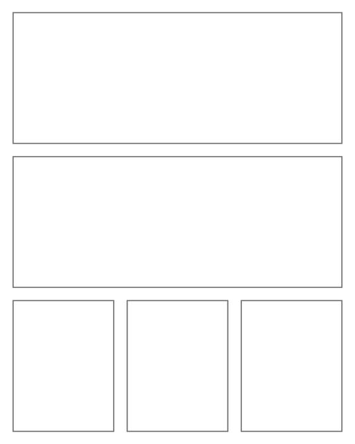 Comic strip template printables in PDF format for manga, newspaper or other styles. Panel 3 panel, 4 panel, 5 panel and more layouts in various styles, including with speech bubbles. Rectangle Panels 5 Panel V2