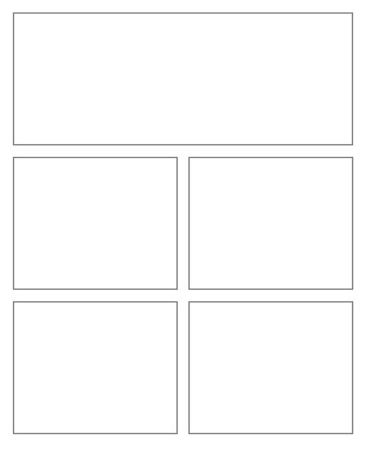 Comic strip template printables in PDF format for manga, newspaper or other styles. Panel 3 panel, 4 panel, 5 panel and more layouts in various styles, including with speech bubbles. Rectangle Panels 5 Panel V3
