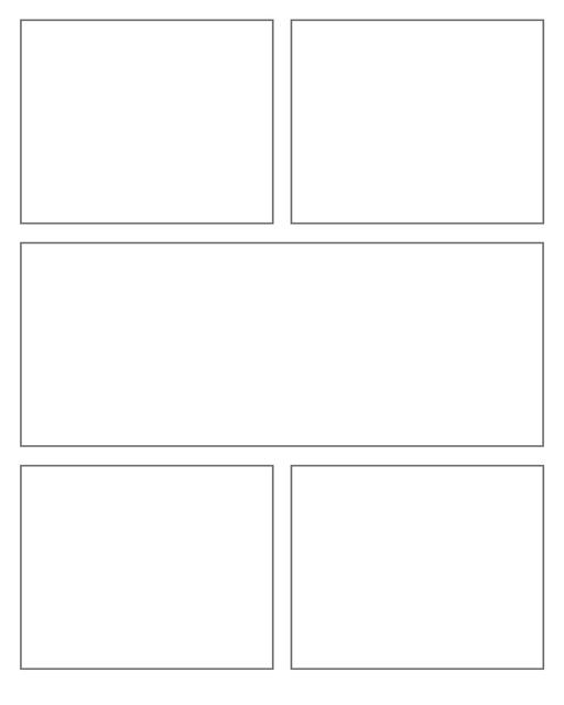 Comic strip template printables in PDF format for manga, newspaper or other styles. Panel 3 panel, 4 panel, 5 panel and more layouts in various styles, including with speech bubbles. Rectangle Panels 5 Panel V4