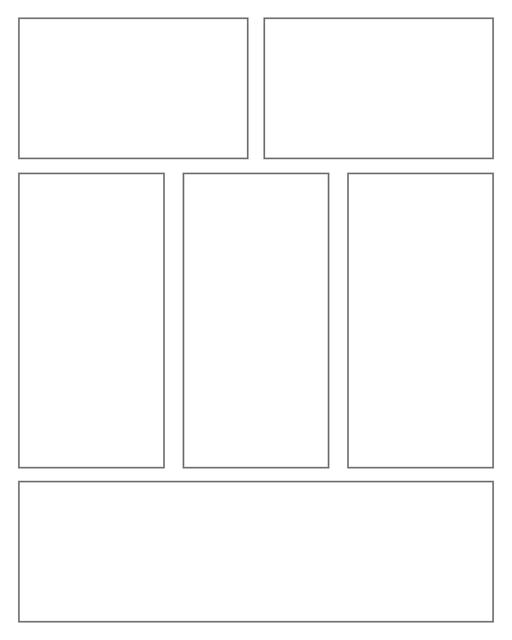 Comic strip template printables in PDF format for manga, newspaper or other styles. Panel 3 panel, 4 panel, 5 panel and more layouts in various styles, including with speech bubbles. Rectangle Panels 6 Panel