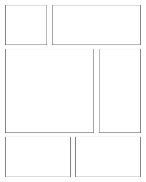 Comic strip template printables in PDF format for manga, newspaper or other styles. Panel 3 panel, 4 panel, 5 panel and more layouts in various styles, including with speech bubbles. Rectangle Panels 6 Panel V2