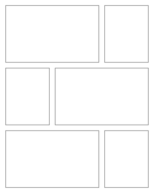 Comic strip template printables in PDF format for manga, newspaper or other styles. Panel 3 panel, 4 panel, 5 panel and more layouts in various styles, including with speech bubbles. Rectangle Panels 6 Panel V3