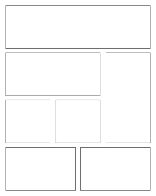 Comic strip template printables in PDF format for manga, newspaper or other styles. Panel 3 panel, 4 panel, 5 panel and more layouts in various styles, including with speech bubbles. Rectangle Panels 7 Pane V2
