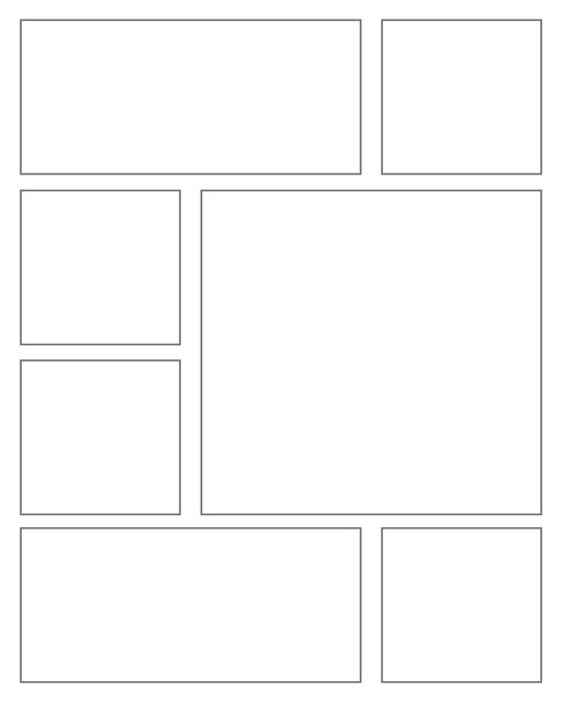 Comic strip template printables in PDF format for manga, newspaper or other styles. Panel 3 panel, 4 panel, 5 panel and more layouts in various styles, including with speech bubbles. Rectangle Panels 7 Pane V3