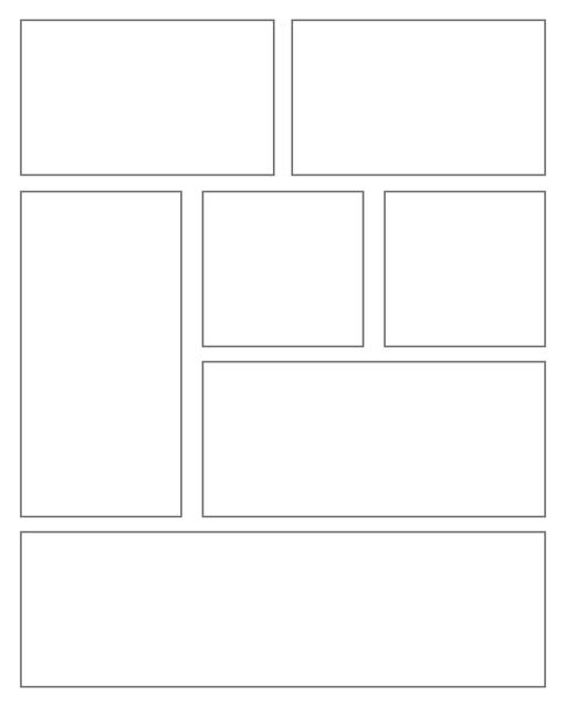Comic strip template printables in PDF format for manga, newspaper or other styles. Panel 3 panel, 4 panel, 5 panel and more layouts in various styles, including with speech bubbles. Rectangle Panels 7 Panel