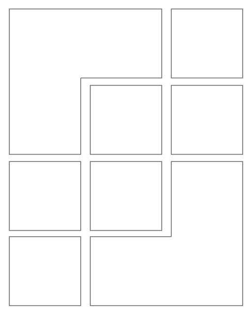 Comic strip template printables in PDF format for manga, newspaper or other styles. Panel 3 panel, 4 panel, 5 panel and more layouts in various styles, including with speech bubbles. Rectangle Panels 8 Panel V2