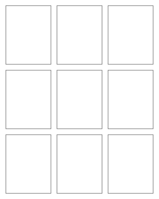 Comic strip template printables in PDF format for manga, newspaper or other styles. Panel 3 panel, 4 panel, 5 panel and more layouts in various styles, including with speech bubbles. Rectangle Panels 9 Panel