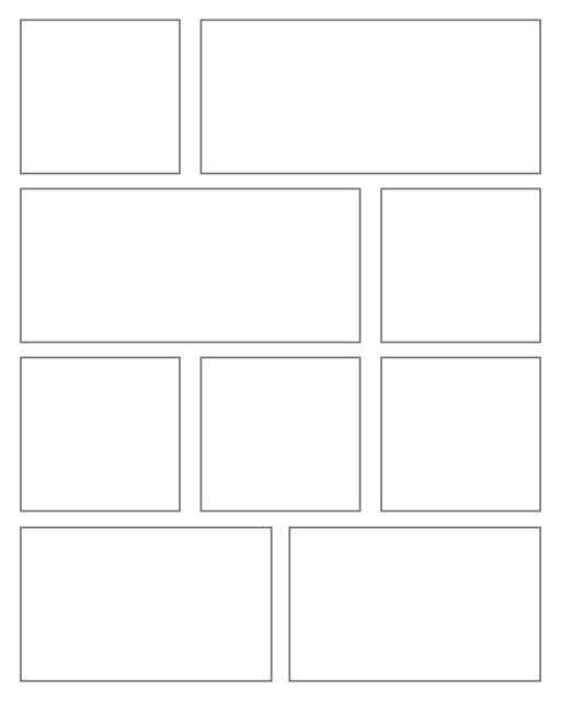 Comic strip template printables in PDF format for manga, newspaper or other styles. Panel 3 panel, 4 panel, 5 panel and more layouts in various styles, including with speech bubbles. Rectangle Panels 9 Panel V2