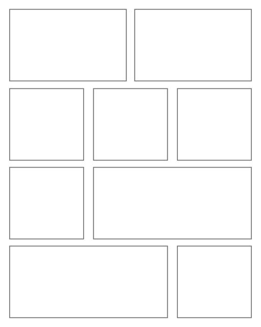 Comic strip template printables in PDF format for manga, newspaper or other styles. Panel 3 panel, 4 panel, 5 panel and more layouts in various styles, including with speech bubbles. Rectangle Panels 9 Panel V3