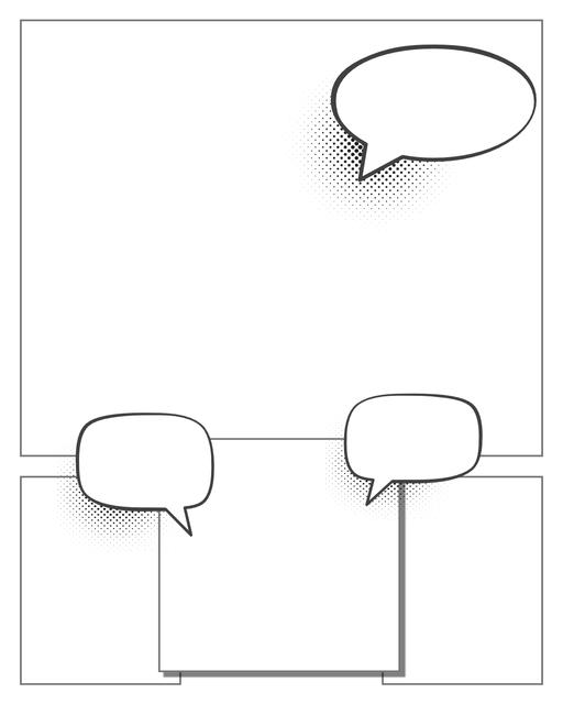 Comic strip template printables in PDF format for manga, newspaper or other styles. Panel 3 panel, 4 panel, 5 panel and more layouts in various styles, including with speech bubbles. Speech Bubbles 4 Panel