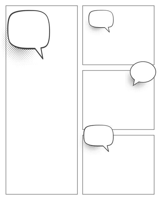 Comic strip template printables in PDF format for manga, newspaper or other styles. Panel 3 panel, 4 panel, 5 panel and more layouts in various styles, including with speech bubbles. Speech Bubbles 4 Panel V2