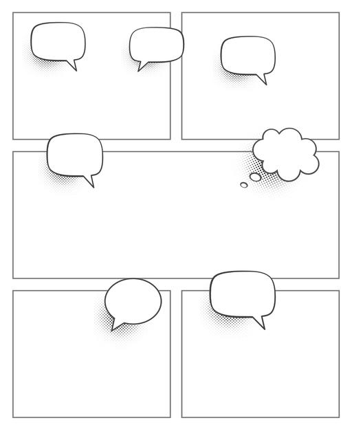 Comic strip template printables in PDF format for manga, newspaper or other styles. Panel 3 panel, 4 panel, 5 panel and more layouts in various styles, including with speech bubbles. Speech Bubbles 5 Panel