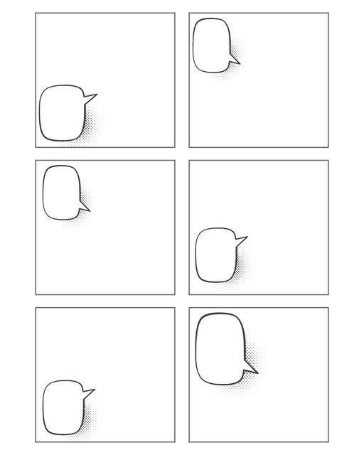 Comic strip template printables in PDF format for manga, newspaper or other styles. Panel 3 panel, 4 panel, 5 panel and more layouts in various styles, including with speech bubbles. Speech Bubbles 6 Panel Hortizontal
