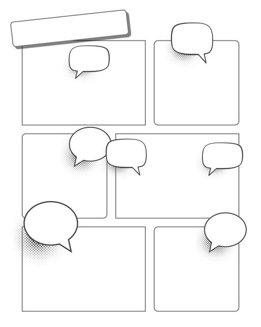 Comic strip template printables in PDF format for manga, newspaper or other styles. Panel 3 panel, 4 panel, 5 panel and more layouts in various styles, including with speech bubbles. Speech Bubbles 6 Panel