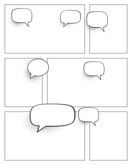 Comic strip template printables in PDF format for manga, newspaper or other styles. Panel 3 panel, 4 panel, 5 panel and more layouts in various styles, including with speech bubbles. Speech Bubbles 6 Panel V2