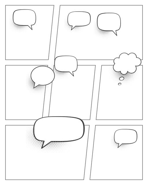 Comic strip template printables in PDF format for manga, newspaper or other styles. Panel 3 panel, 4 panel, 5 panel and more layouts in various styles, including with speech bubbles. Speech Bubbles 7 Panel