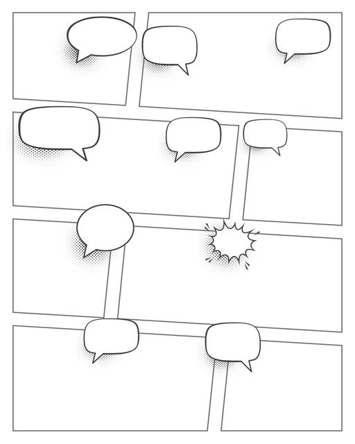 Comic strip template printables in PDF format for manga, newspaper or other styles. Panel 3 panel, 4 panel, 5 panel and more layouts in various styles, including with speech bubbles. Speech Bubbles 8 Panel