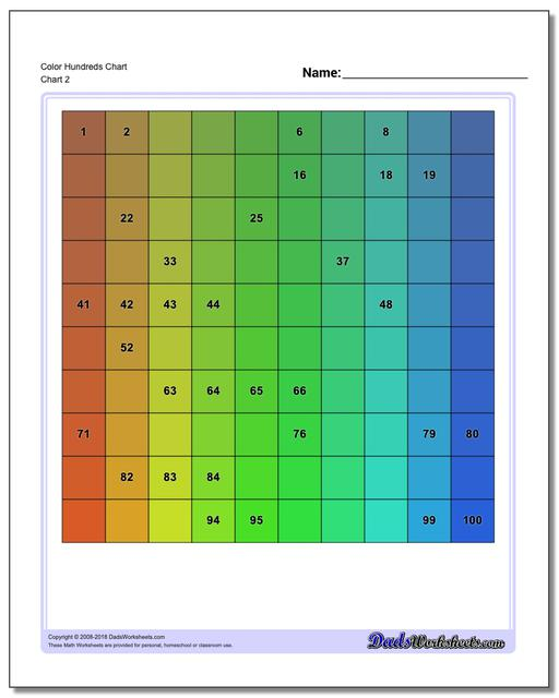 Color Hundreds Chart www.dadsworksheets.com/charts/hundreds-chart.html